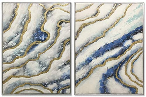 3Hdeko - 3D Blue Gold Abstract Wall Art Luxury Hand Painted Agate Geode Marble Texture Oil Painting for Home Living Room Bedroom Decoration, Large 2 Piece Silver Framed Canvas Artwork (48x32inch)