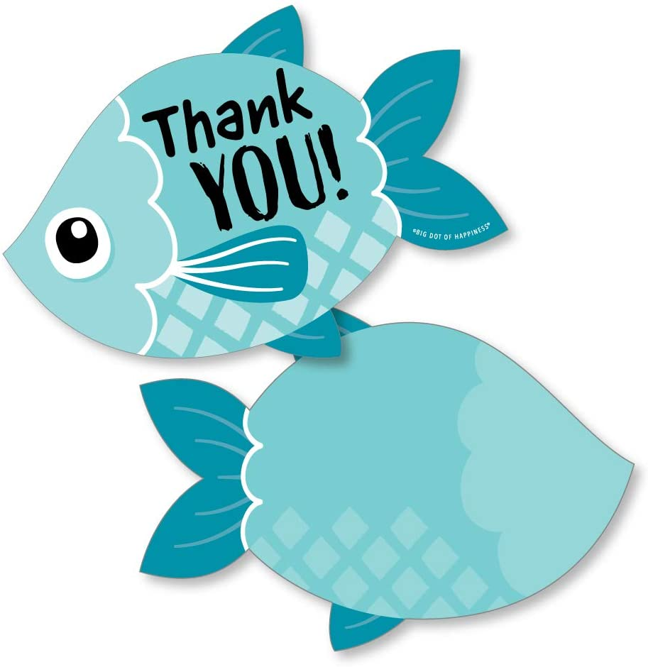 Big Dot of Happiness Let's Go Fishing - Shaped Thank You Cards - Fish Themed Birthday Party or Baby Shower Thank You Note Cards with Envelopes - Set of 12
