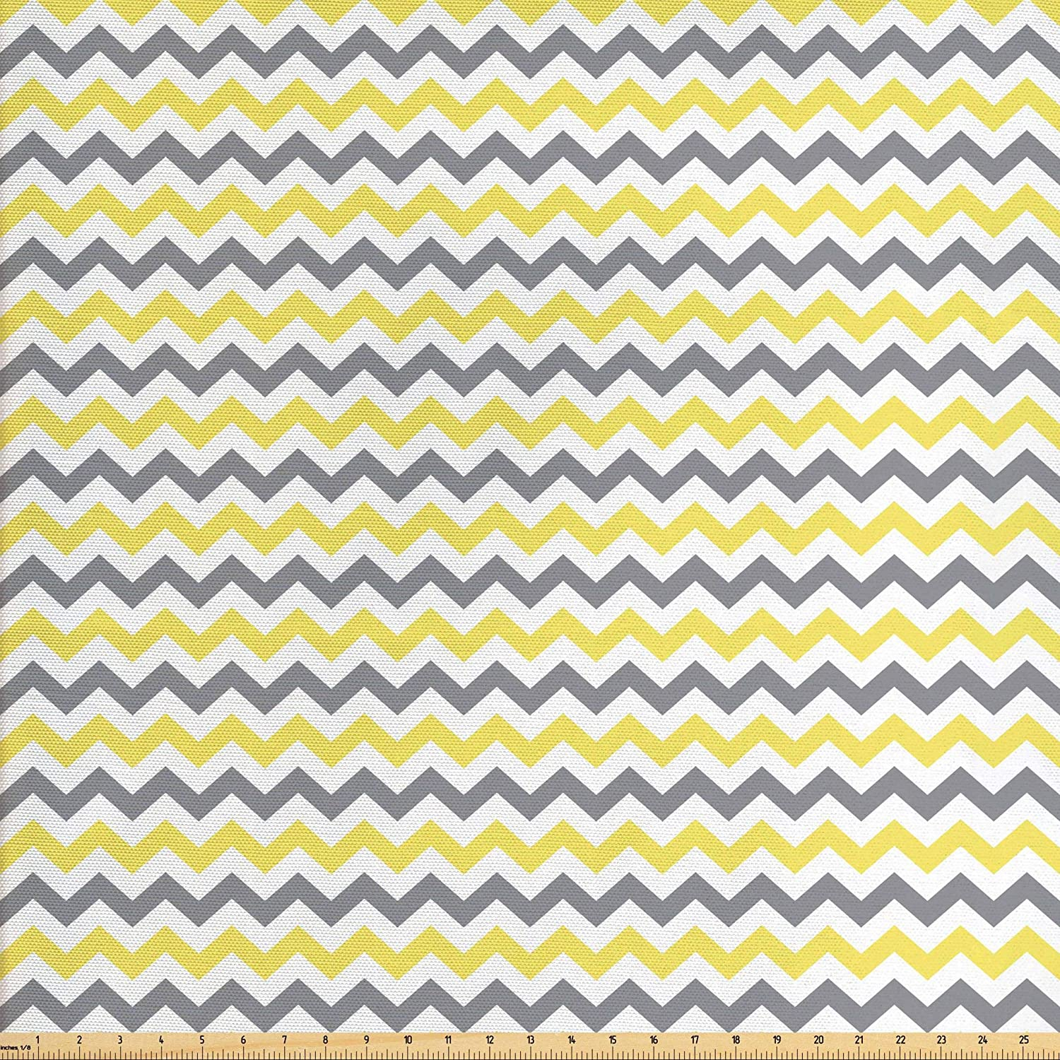 Lunarable Geometric Fabric by The Yard, Horizontal Chevron Pattern Zigzag Endless Simplicity Design Print, Decorative Fabric for Upholstery and Home Accents, 1 Yard, Yellow White