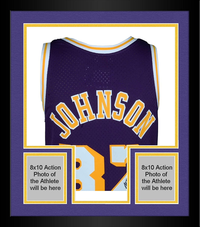 Framed Magic Johnson Los Angeles Lakers Autographed Purple Mitchell & Ness Hardwood Classics Swingman Jersey with