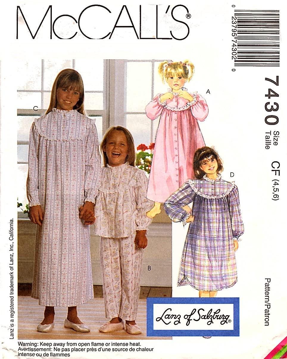 McCall's 74301994 Children & Girls, Robe, Pajamas, Nightgown and Nightshirt; Sizes CF (4,5,6)