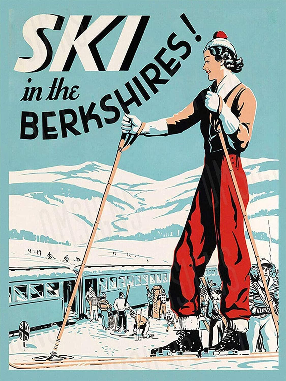 New Metal Poster Ski The Berkshires Skiing Vintage Metal Tin Sign 8x12 Inch Retro Art Home Bathroom Bar Pub Garage Shop Wall Decor Metal Plaque