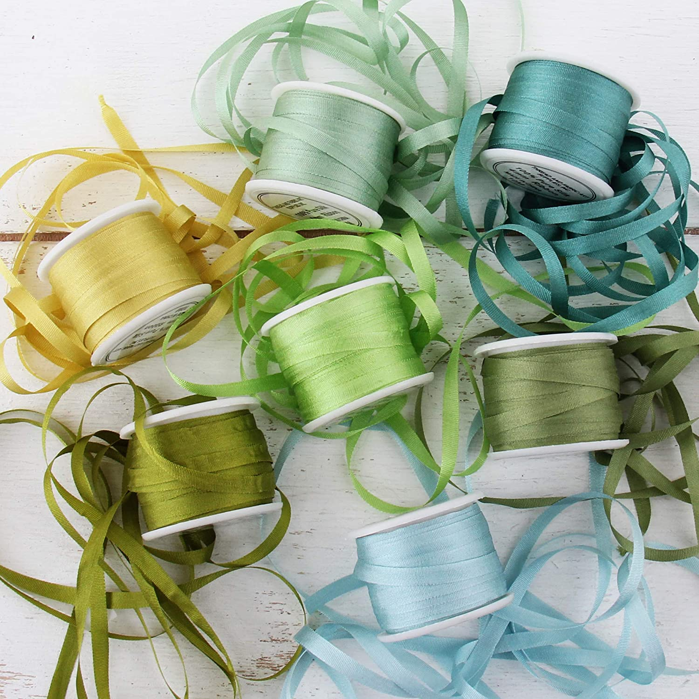 Threadart 4mm Silk Ribbon Set - Oceanview Shades - Seven Spool Collection - 100% Pure Silk Ribbon - 10m (11yd) Spools - 77 Yards of Ribbon