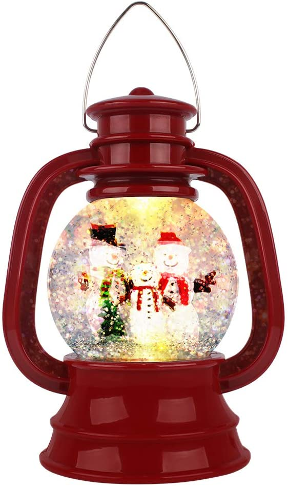 Suweor Upo Christmas Lighted Water Lantern, Swirling Glittering Snow Globe Lantern Swirling Dome, Battery Powered Festival Ornament and Gifts for Adults and Children