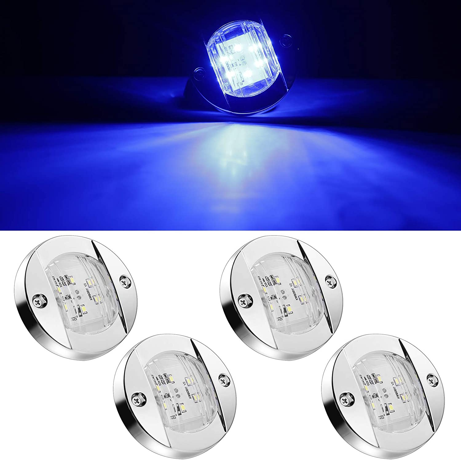 4Pcs 3 inch Round Navigation Lights Chrome Marine Clear Lens Blue Boat LED Stern Lights Transom Mount Stern Anchor Lamps 6-2835-SMD IP67 Waterproof DOT Certified