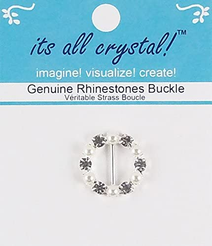 Genuine Rhinestones Buckle - Silver Finish Metal Crystals and Pearls -1 Pc