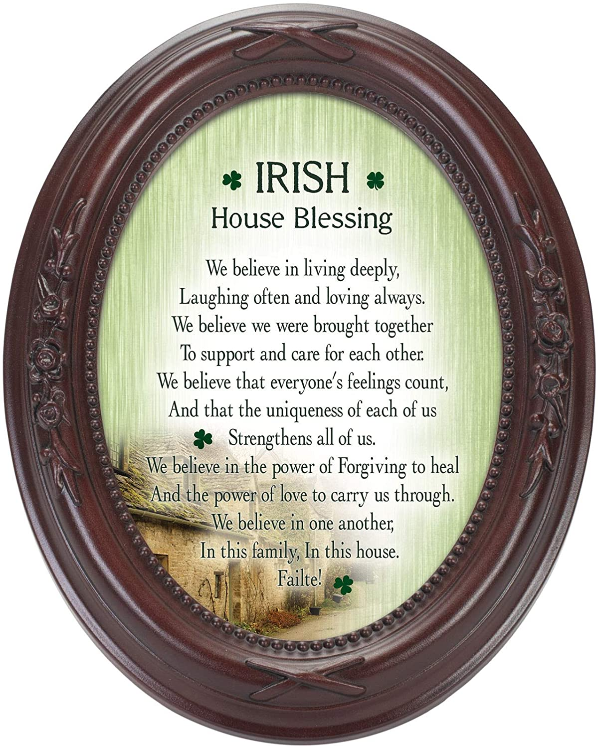 Cottage Garden Irish House Blessings Failte! Mahogany Finish Floral 5 x 7 Oval Table and Wall Photo Frame