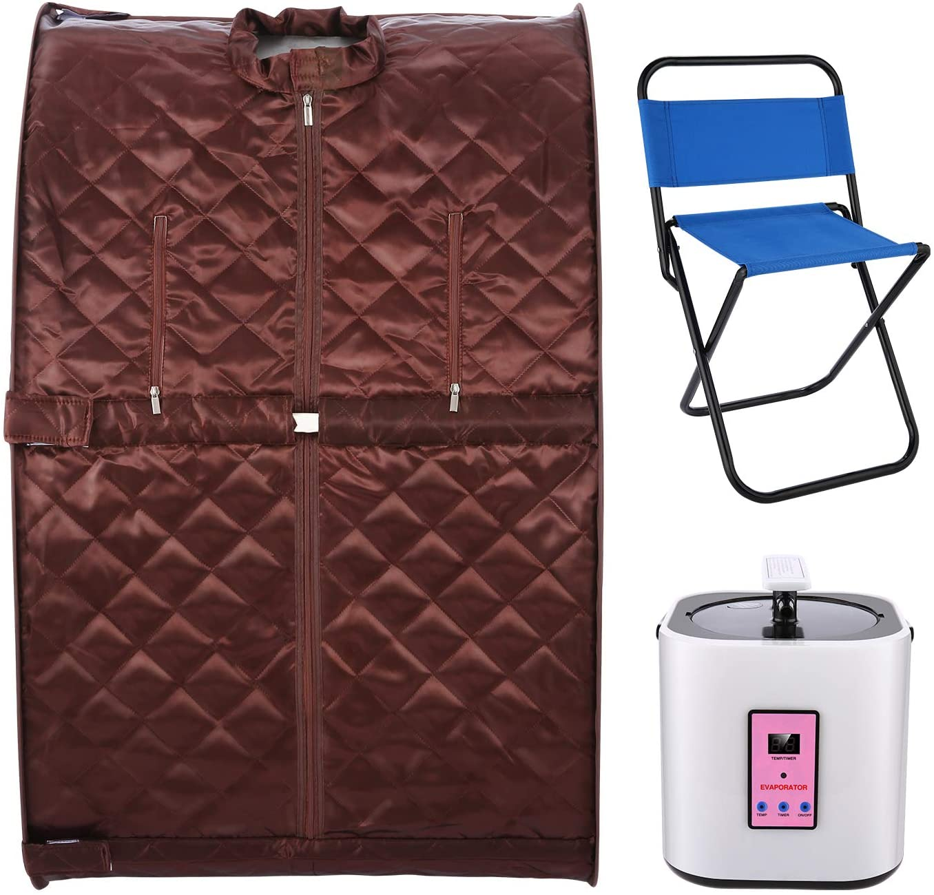 KGK Portable Steam Sauna Spa for Home Weight Loss, Detox, Relaxation, Personal Sauna for Women/Men, with Remote Control, Timer & Foldable Chair (Coffee)