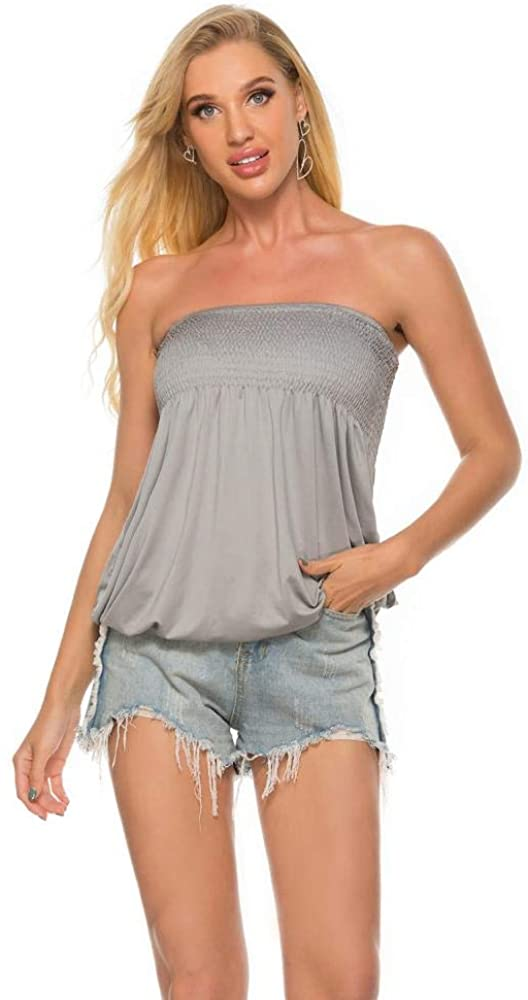 Women Sleeveless Tube Top Summer Strapless Pleated Crop Top Halter Twisted Tunic Tank Tops Blouse