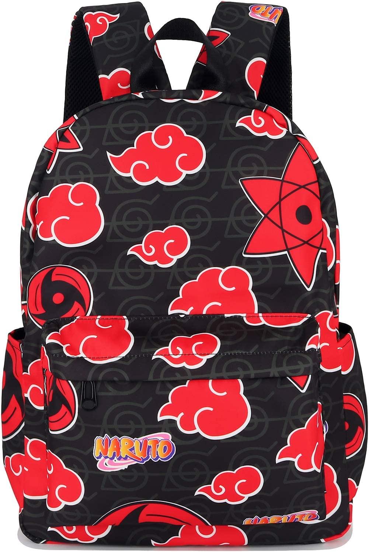 Roffatide Anime Naruto Backpack All Over Print Bookbag Sasuke Itachi Sharingan Akatsuki Red Cloud Laptop Backpack