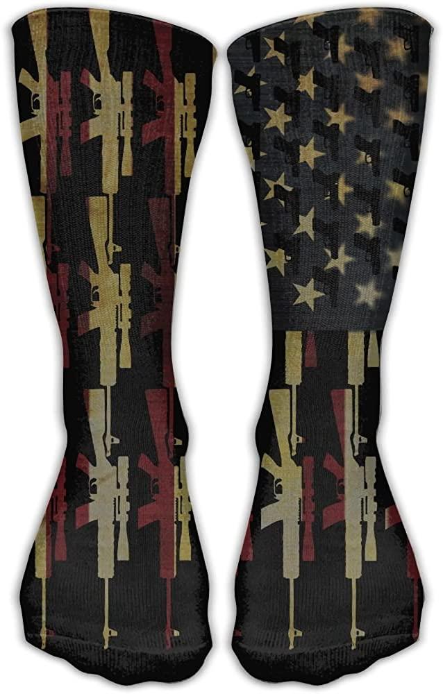 DaCrew American Flag Gun Unisex Novelty Crew Socks Ankle Dress Socks Fits Shoe Size 6-10
