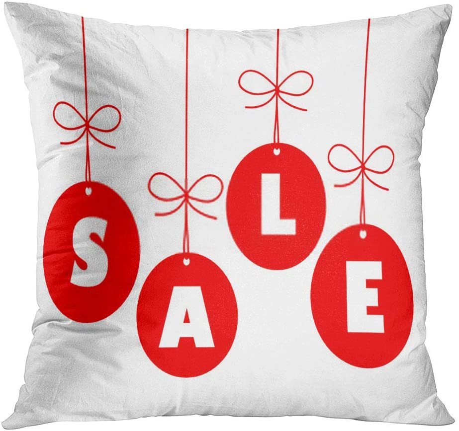 Llsty Throw Pillow Cover Polyester Print Christmas January Sales Tag Baubles Stocking Soft Square for Couch Sofa Bedroom Pillowcase Home Cushion Case 20 x 20 Inch