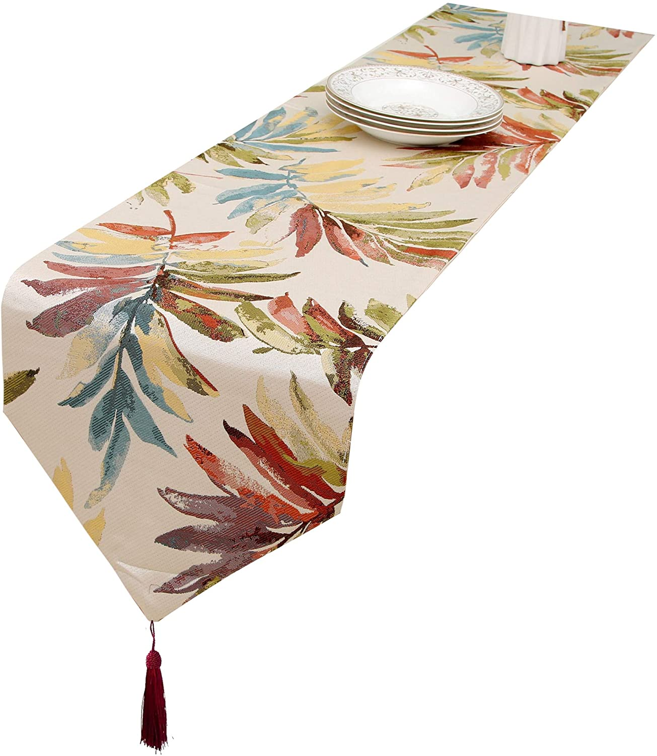 HoliSelear Multi-Size Colorful Leaf Table Runner Fall 13 x 48 Inch for Coffee Farmhouse Long Side Desk Tall Kitchen Tea/Coffee Table Dining Room Decoration Party Dresser