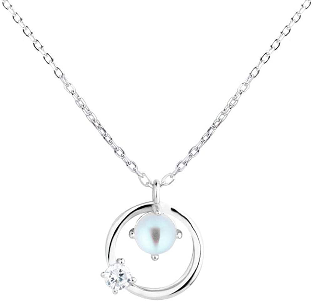 HNJYXX Japan and South Korea Small Fresh Stone Planet Necklace Female Simple Circle Pendant Short Clavicle Chain