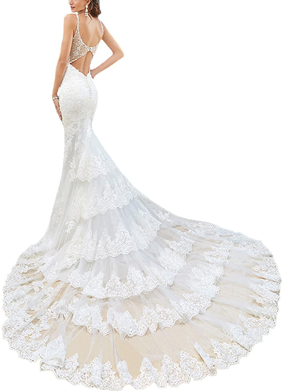 BONBETE Sexy V Neck Spaghetti Straps Long Train White Lace Mermaid Beach Wedding Dress