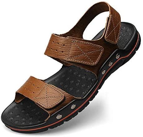 Teerwere Men's Shower Sandals Antislip Men's Summer Water Shoes Sport Outdoor Hiking Climbing Sandals Anti Slip Slide Durable Sandals Comfortable Shower Beach Shoe (Color : Brown, Size : 48)