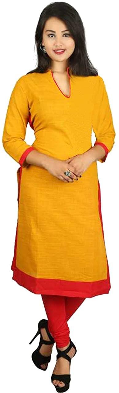 Lakkar Haveli Womens Long Dress Tunic Wedding Wear Casual Frock Suit Yellow Color Maxi Dress Plus Size