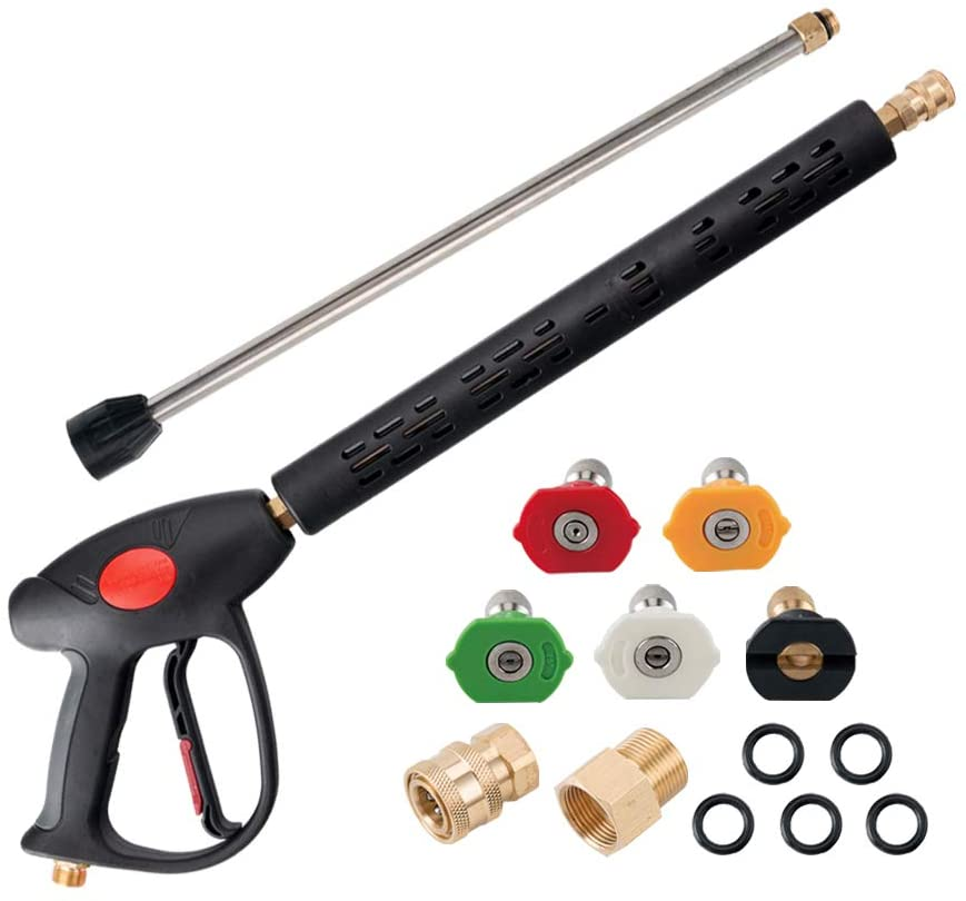 AURORA CAR Pressure Washer Gun with Extension Wand for Hot and Cold Water, 40 Inch, 4000 PSI Power Washer Gun with M22 Fitting, 5 Nozzle Tips