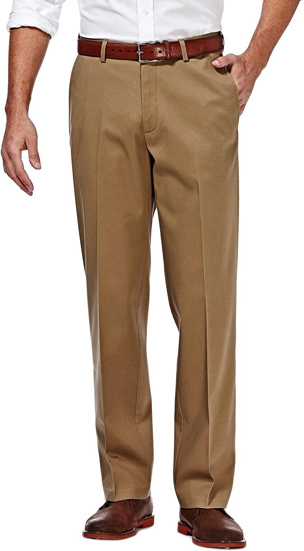 Haggar Men's Premium No Iron Khaki Classic Fit Expandable Waist Flat Front Pant