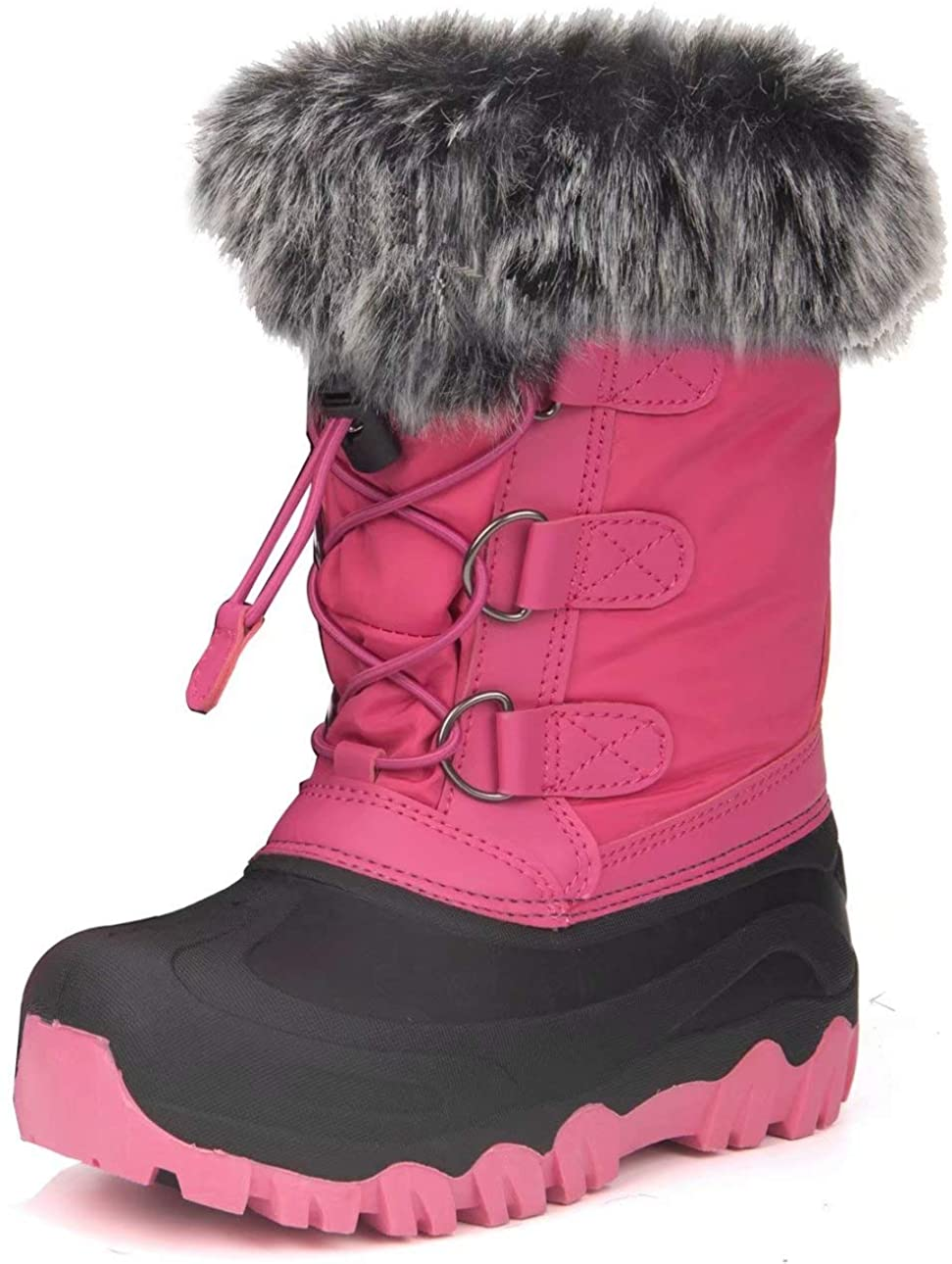 Outee Kids Girls Boys Warm Snow Boots with Faux Fur
