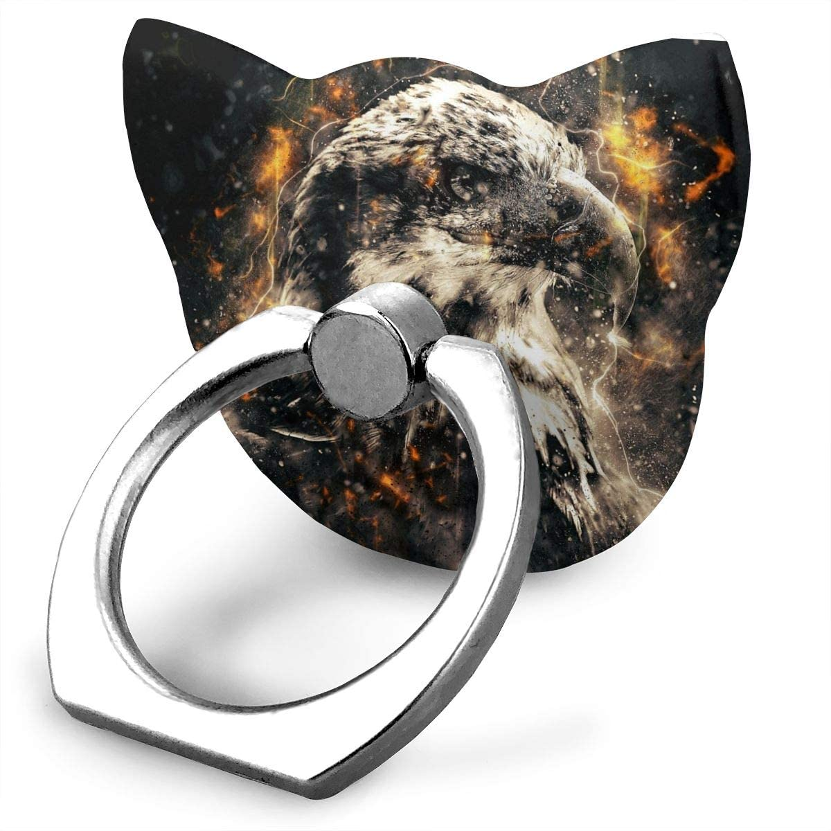 Cat Cell Phone Ring Holder, Ring Phone Holder Bald Eagle with Fire Cat Ring Holder for Cell Phone, Phone Grip Holder, Phone Ring Stand Finger Kickstand 360° Rotation Compatible with All Smartphones