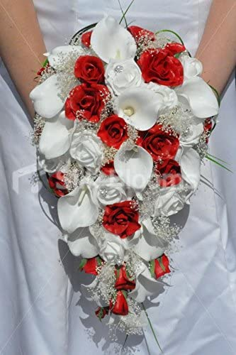Silk Blooms Ltd Stunning Artificial Red Fresh Touch Rose and Ivory Calla Lily Cascade Bridal Bouquet with Gypsophila and Foam Roses