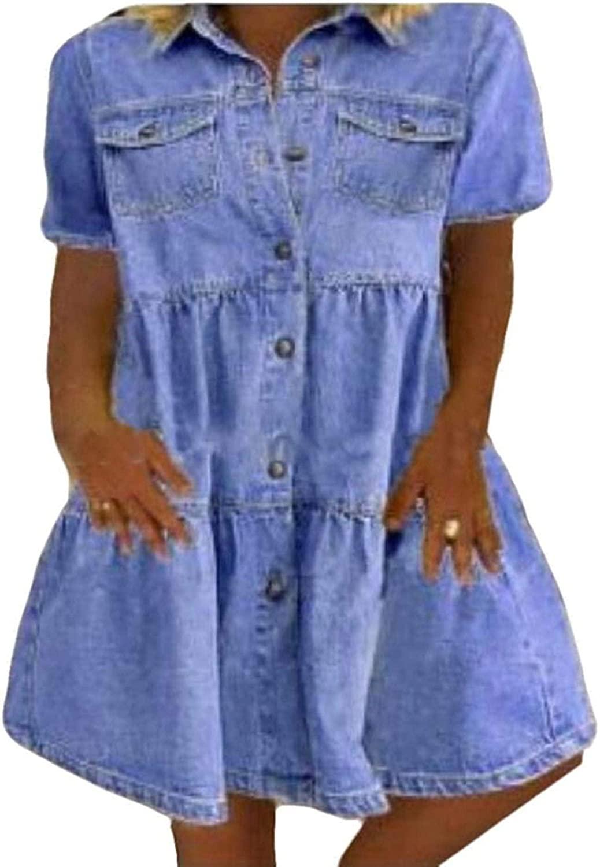 Zeious Women Summer Short Sleeve Denim Pockets Casual A-Line Midi Dress