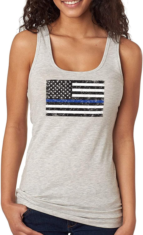 XtraFly Apparel Womens Blue Line Police USA Flag Shirt Lives Matter Tee Racer-Back Tank