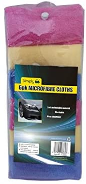 Simply CLE004 Car Home Wash & Dry 6PK Microfibre Cloth, Durable, Washable and Reusable, Ultra-Absorbent Soft Material Holds More Suds & Water, Clean & Remove Tough Stains, Set of 6