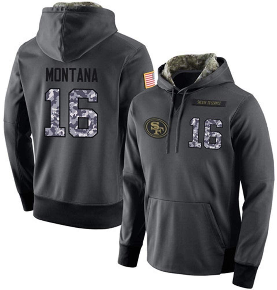Littlearth Men's #16 Joe Montana San Francisco 49ers Salute to Service Hoodie Apparel - Anthracite