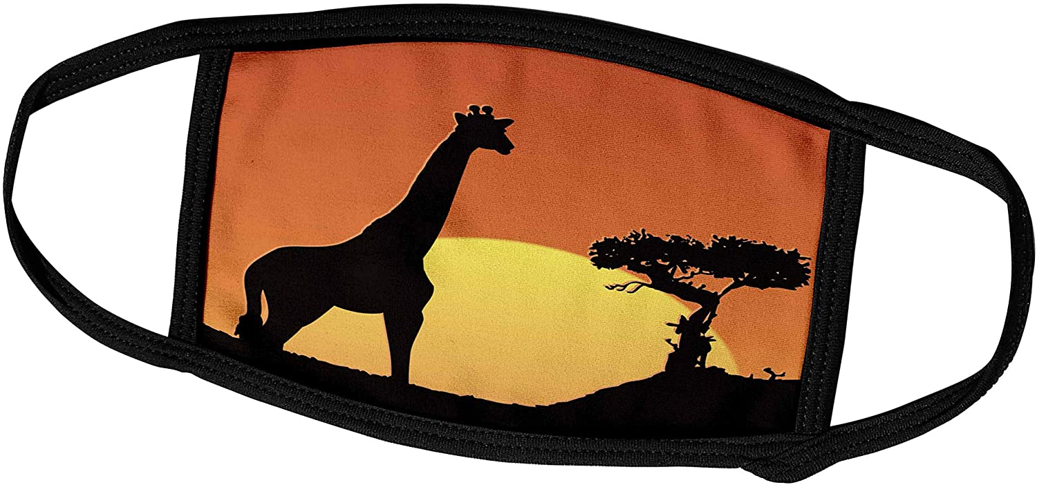 3dRose Giraffe and Tree Silhouette Against The Setting Sun - Face Covers (fc_203065_3)