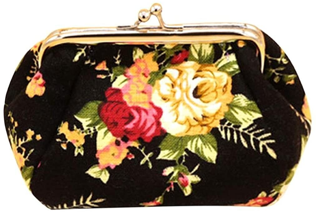 Sannysis Women Lady Retro Vintage Flower Canvas Small Wallet Purse Clutch Bag