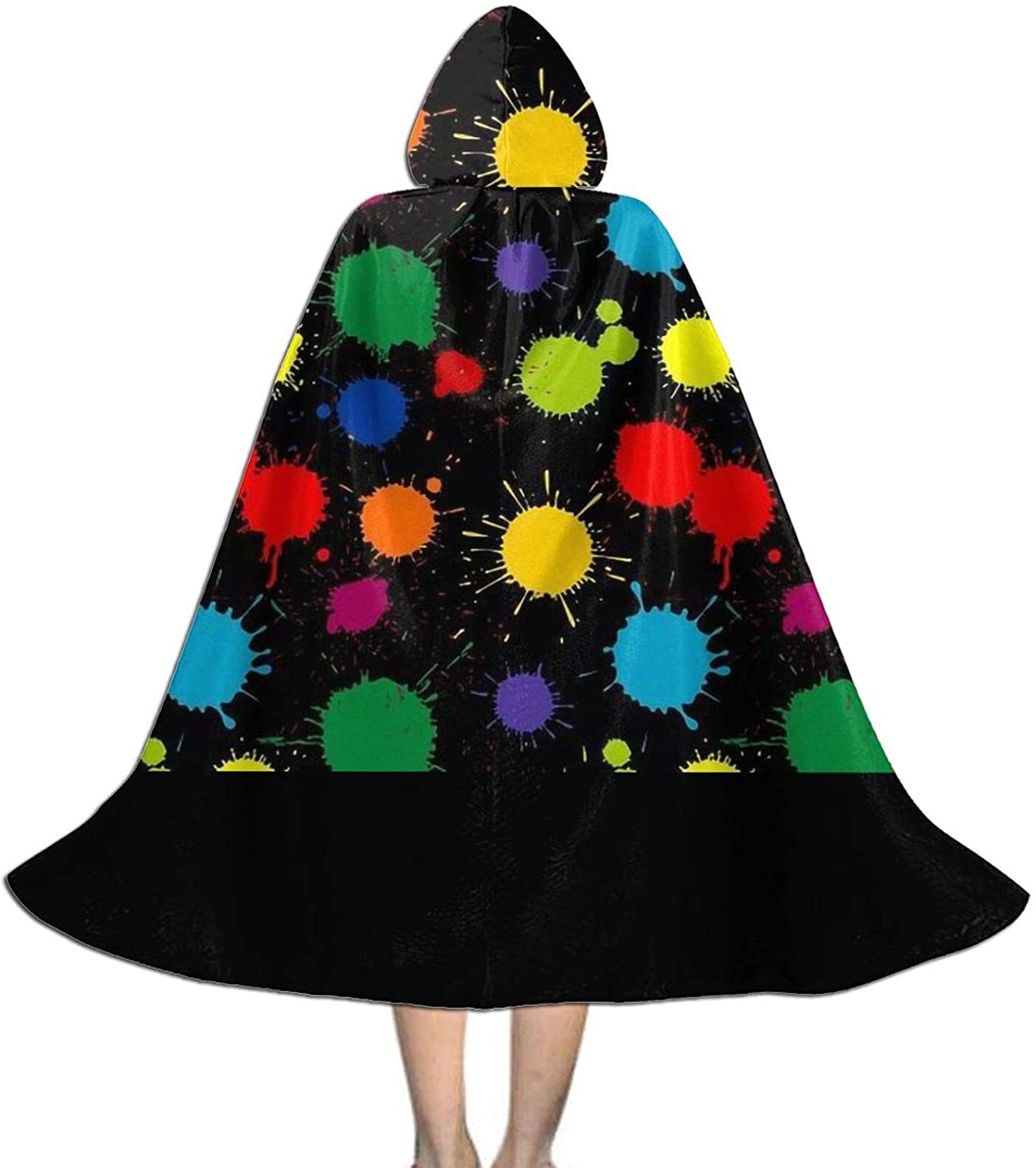 LNUO-1 Unisex Splatter Paint Kid's Long Hooded Cloak Cape for Halloween Party Role Cosplay Costumes
