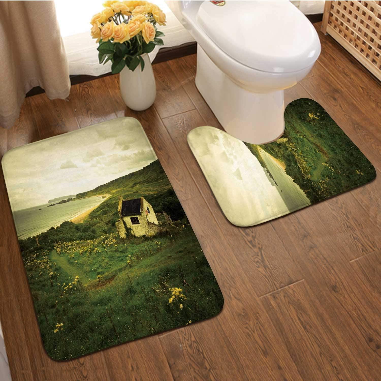 Irish Landscape Northern Ireland,Bathroom Rugs Luxur Bath Mat,Super Absorbent Non-Slip Bath Mats Europe