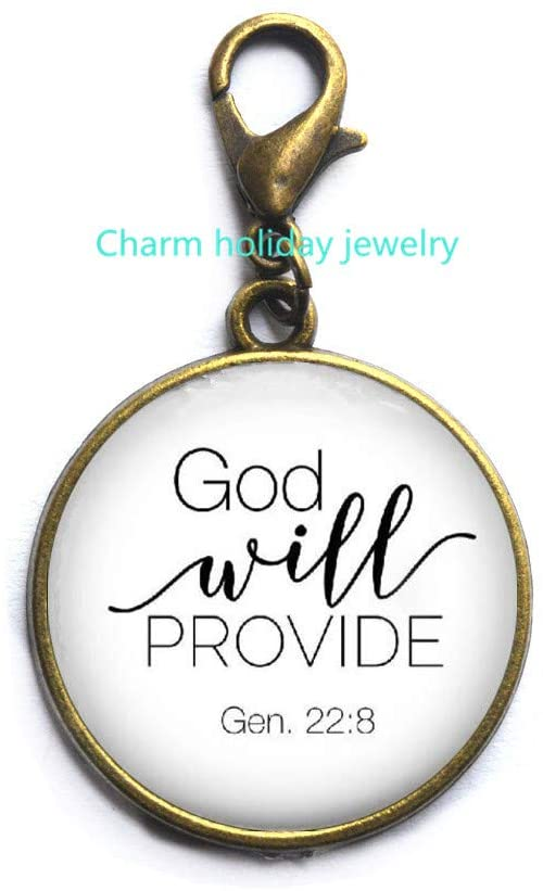 Scripture Zipper Pull,Christian Jewelry,Bible Verse Lobster Clasp,God Will Provide,Genesis 22:8,Quote,Christian Gift-#16