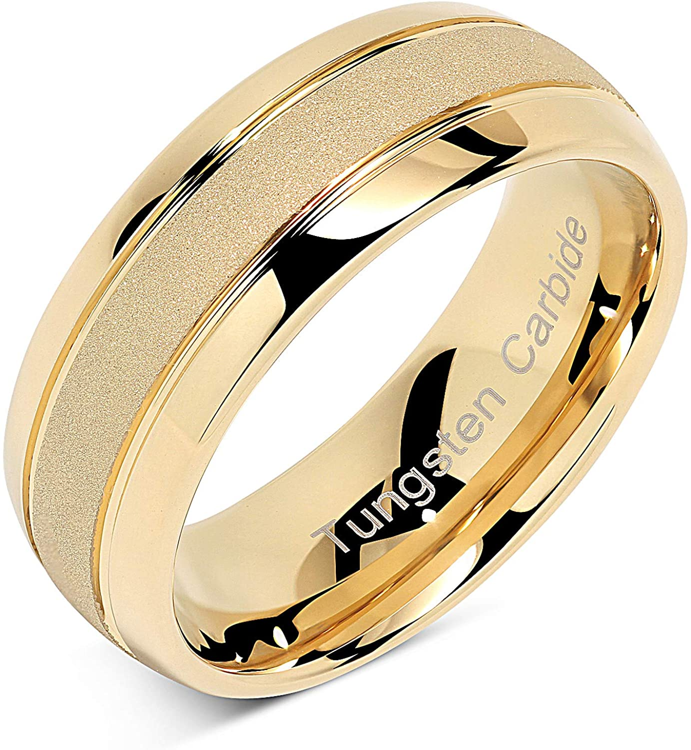 100S JEWELRY Engraved Personalized Tungsten Rings For Men Women Gold Wedding Band SandBlasted Finish Dome Edge Sizes 6-16