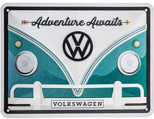 Nostalgic-ArtVolkswagen - VW Bulli - Adventure Awaits - Bus gift ideaRetro Tin SignMetal PlaqueVintage design for decoration15 x 20 cm