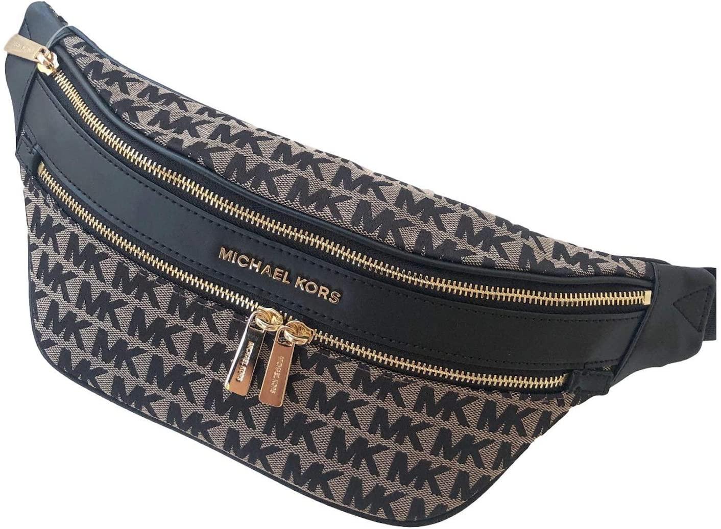 Kenly Medium Belt Bag Waist Pack Crossbody Bumbag Black Beige Jacquard Logo