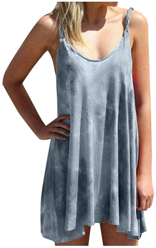 Shakumy Women Dresses Tie Dye T Shirt Short Dress Sleeveless Summer Casual Loose Sundress Beach Floral Print Tank Mini Dress