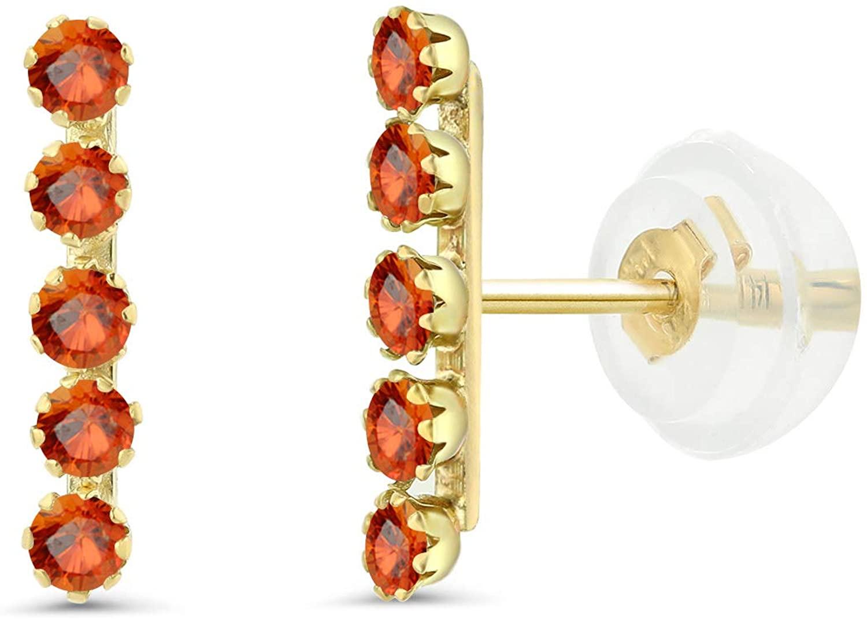 Gem Stone King 14K Yellow Gold Stick Drop Dangle Earrings for Women 10mm 0.20 Ct Round Orange Sapphire