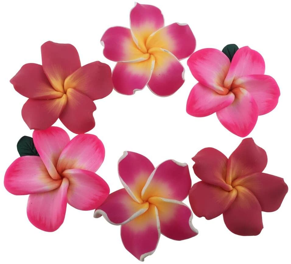 Pack of 50 Pieces Beautiful Colorful Handmade Mini Diameter 1.4 Artificial Frangipani Plumeria Hawaiian Flower for Wedding Party Home Office Decoration Handwork (Assorted Color)