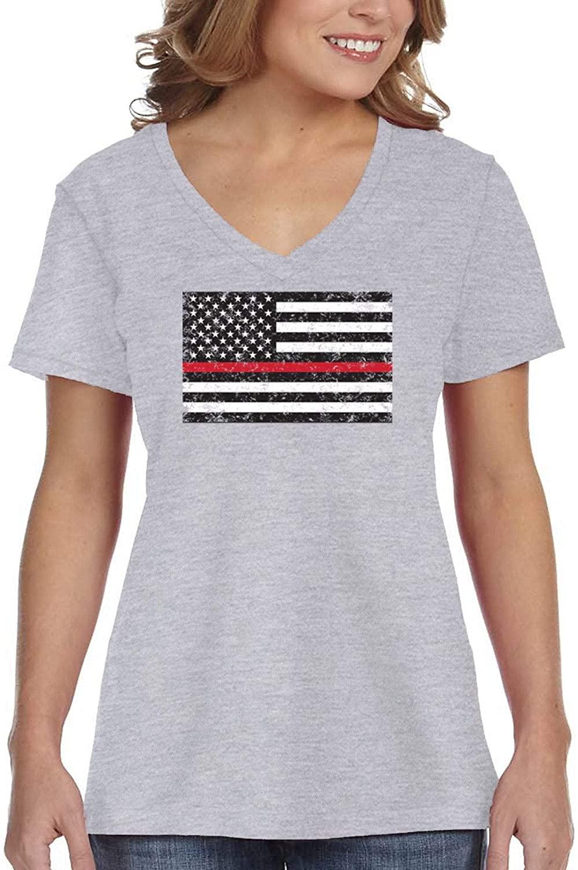 XtraFly Apparel Women's Red Line Firefighters Courage USA Flag Shirt Lives Matter Tee V-Neck T-Shirt
