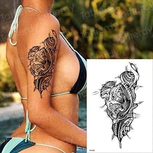 Temporary Tattoo Sticker Tattoo temporary waterproof gangster tattoos mechanical 3D halloween tattoo fake men arm shoulder tattoos sleeves black Fake Tatto (Color : C)