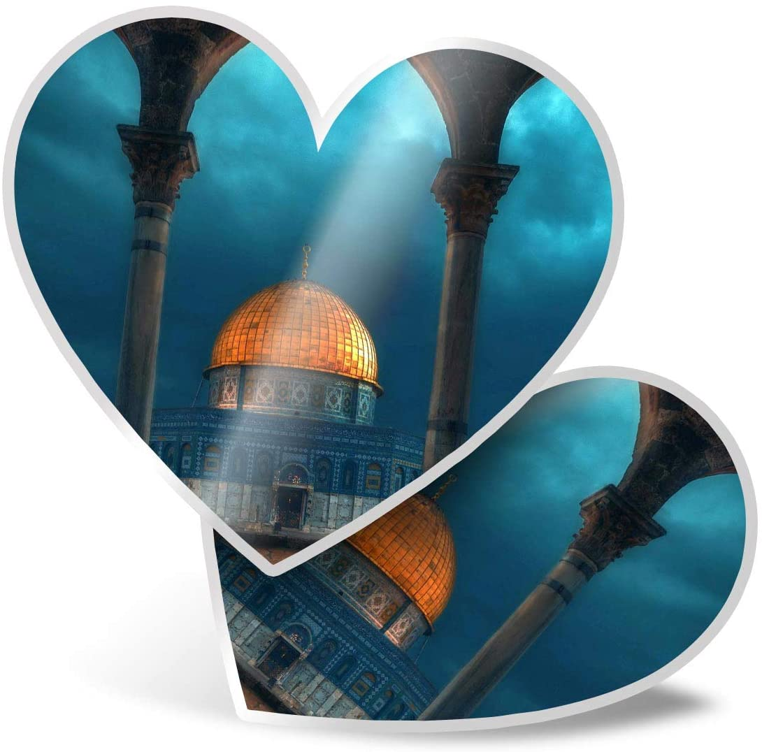Awesome 2 x Heart Stickers 7.5 cm - Islamic Architecture Buildings Fun Decals for Laptops,Tablets,Luggage,Scrap Booking,Fridges,Cool Gift #13146