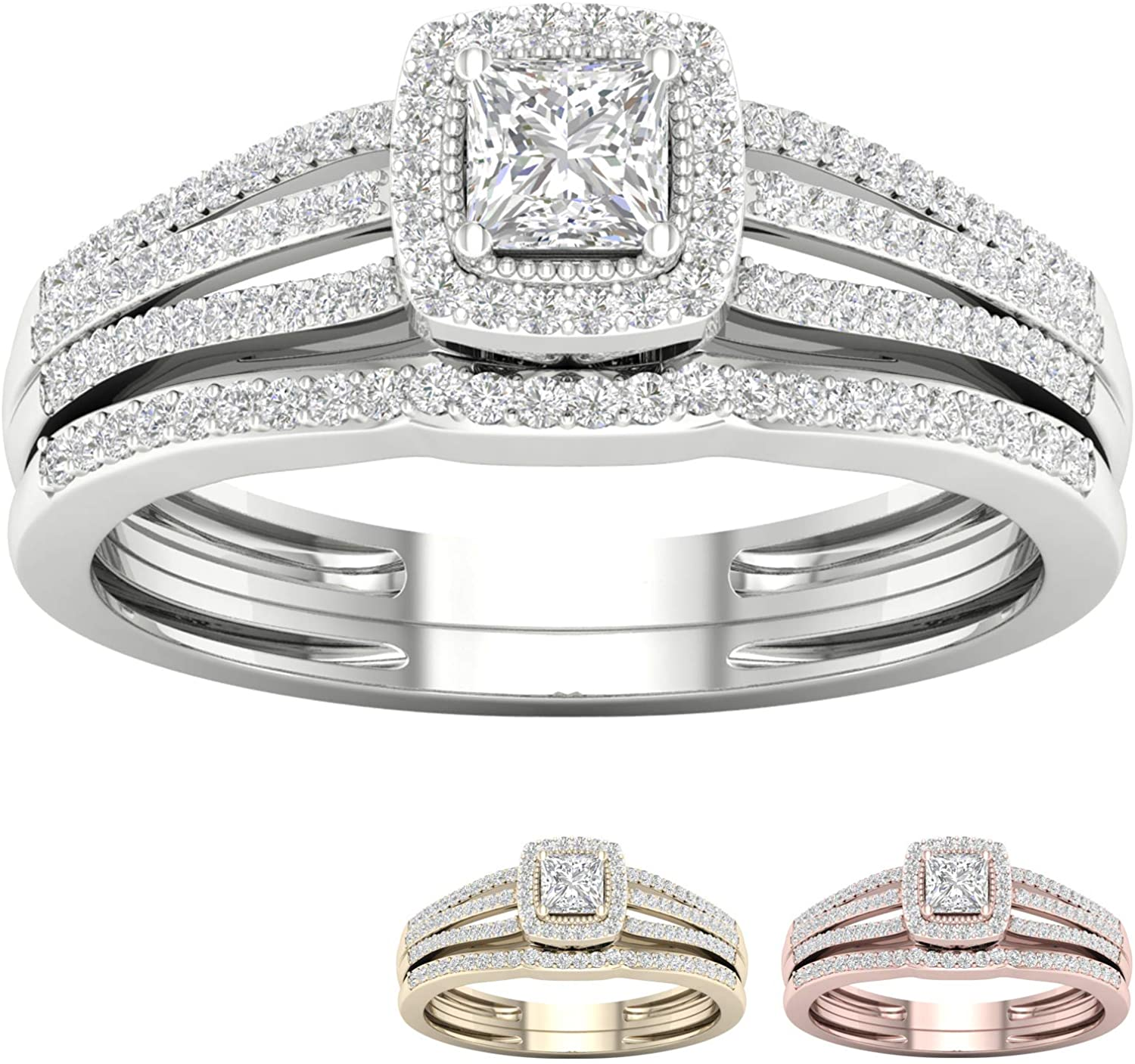 IGI Certified 10k Gold 1/2 Ct TDW Diamond Halo Engagement Ring Set (I-J,I2)