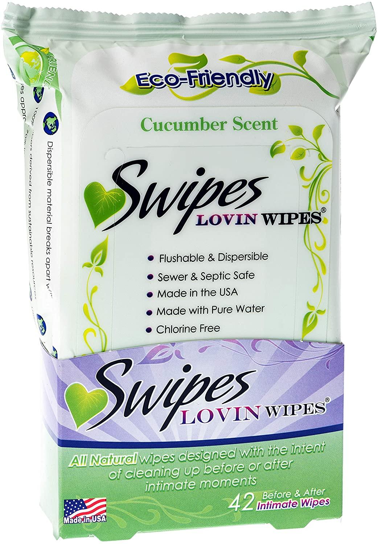 Swipes Lovin All Natural Intimate Feminine Wipes | Aloe & Vitamin E, Free of Chlorine & Dyes, pH-Balanced & Flushable | Cucumber, 42 Count, 1 Pack
