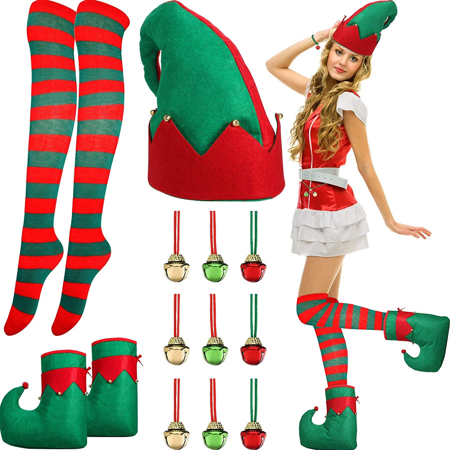 Christmas Costume Accessories Santa Elf Costume Set Includes Santa Elf Hat Jingle Bell Elf Shoes Christmas Red and Green Striped Knee Stocking