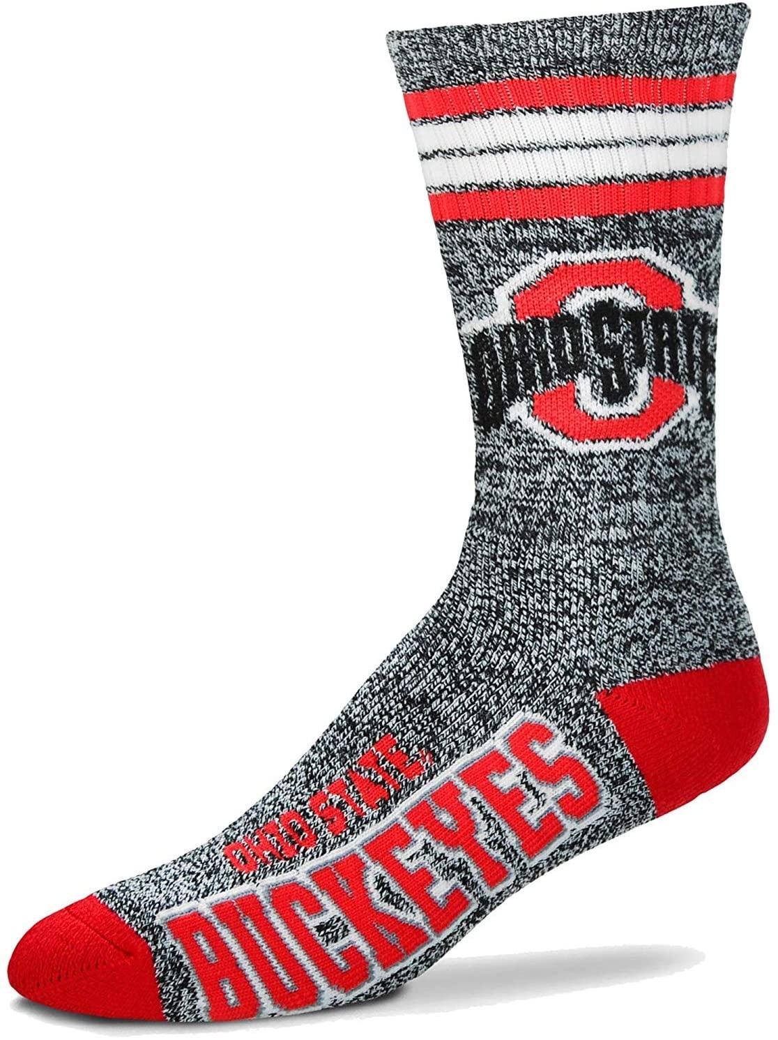 For Bare Feet - Got Marbled Ohio State Buckeyes 4 Stripe Deuce Socks Mens Size X-Large 13-15 XL