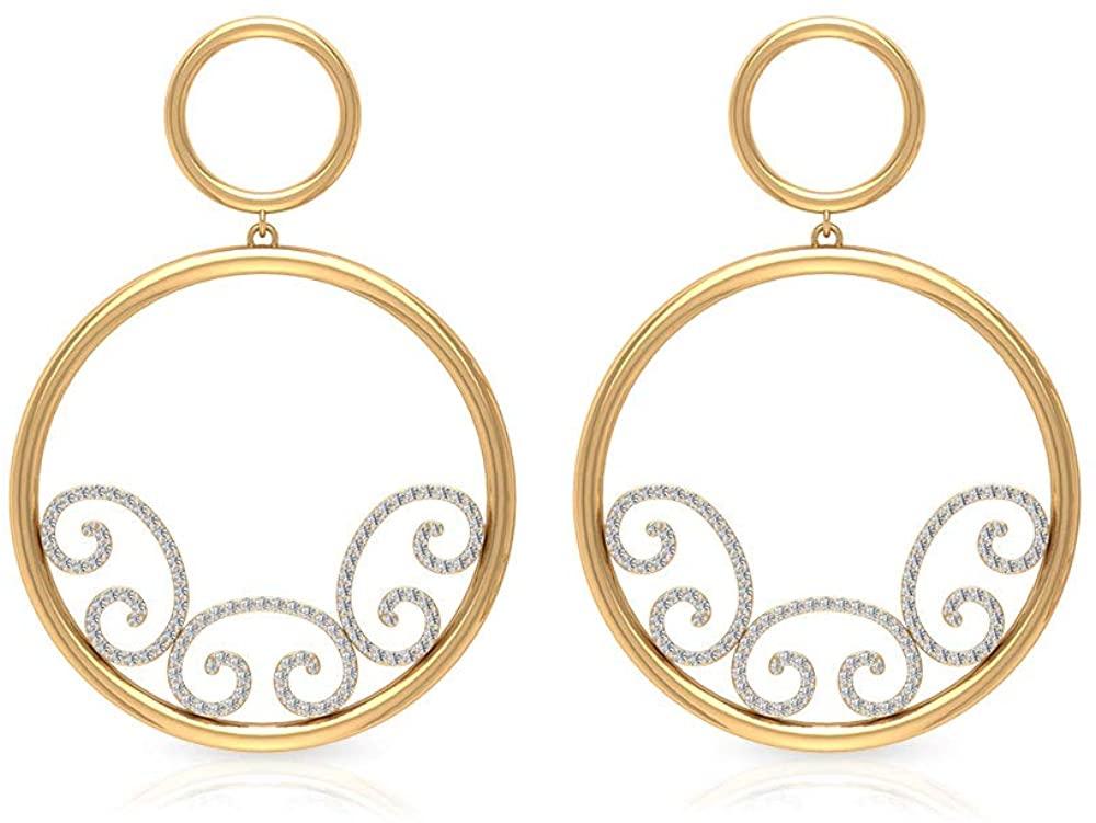 0.84Ct IGI Certified Diamond Dangle Earring, Statement Earrings For Women, IJ-SI Color Clarity Diamond Gold Earring, Open Circle Gold Drop Earrings, clip-on