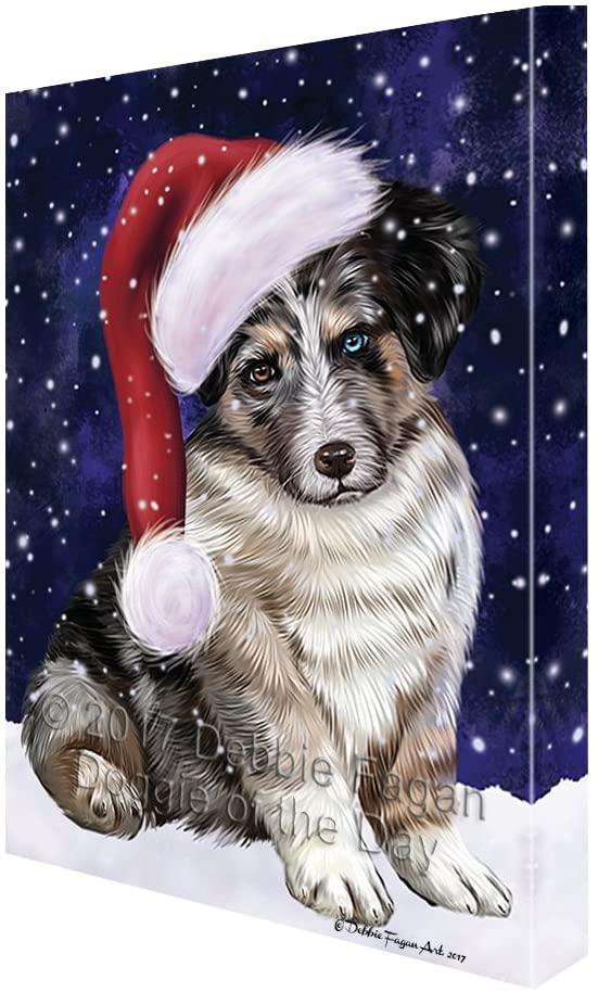 Let it Snow Christmas Holiday Australian Shepherd Dog Wearing Santa Hat Canvas Wall Art (16x20)